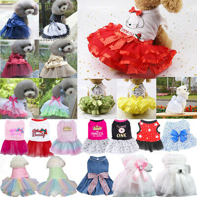 Sweet  Dog Bow Dress Pet Dresses For Small Dog Wedding Dress Skirt Pet Clothes • 3.23£