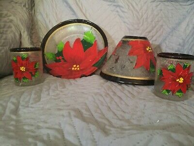Yankee Candle Large Jar Shade And Tray And 2 Votive Holders • 30£