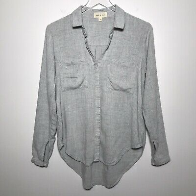 $ CDN32.61 • Buy Anthropologie Cloth & Stone Size XS Soft Rayon Long Sleeve Button Down Top Gray