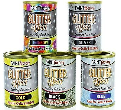Glitter Effect Paint Sparkling Finish Crafts & Hobbies 125ml 5 Colours • 5.99£