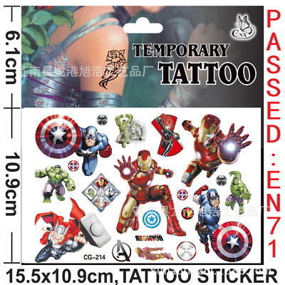 £3.99 • Buy 5/10X Kids Avengers Spider Princess Temporary Tattoos Sticker Party Bag Fillers