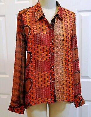 $14.95 • Buy Sans Souci Womens Sheer Blouse Top Size M NWT