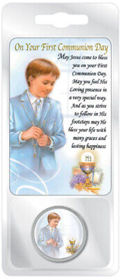 £3.99 • Buy Boys First Holy Communion  Pocket Token And Prayer Card Religious Gift