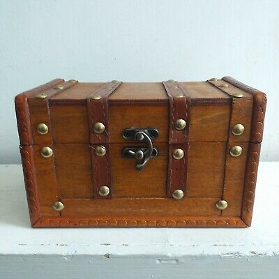 £10.99 • Buy Small Rustic Wooden Antique Style Jewellery Box Treasure Chest Trinket Keepsake