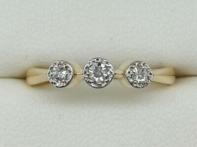 Antique Diamond 3 Stone In 18ct Gold And Platinum. Ring Size L 1/2. • 140£