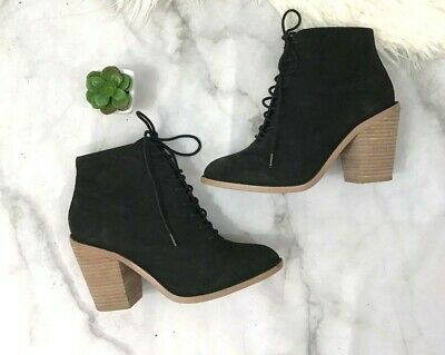 $ CDN46.30 • Buy Kelsi Dagger Black Lace Up Wood Heel Ankle Booties Size: 7.5 Urban Outfitters
