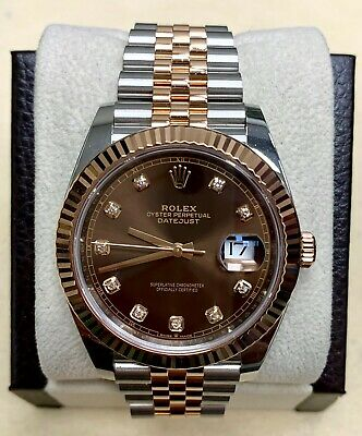 $ CDN17662.21 • Buy Rolex Datejust 41 126331 Chocolate Diamond Dial 18K Rose Gold Stainless Steel