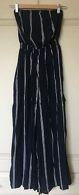 AU25 • Buy Urban Outfitters/silence+noise Strapless Jumpsuit, Size S/26, Navy Cream Stripe