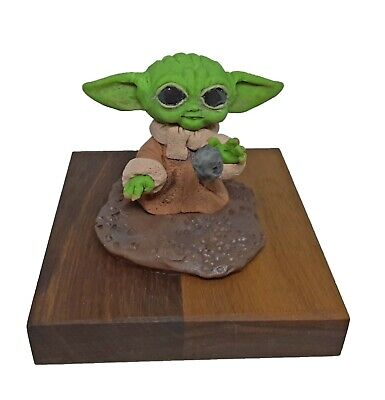 $49.95 • Buy OOAK Handmade Polymer Clay  Star Wars Mandalorian Baby Yoda  Fan Art Figurine