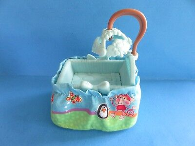 """$5.95 • Buy Fisher-Price """"Bassinet W/skirt"""" Blue Doll House Furniture"""