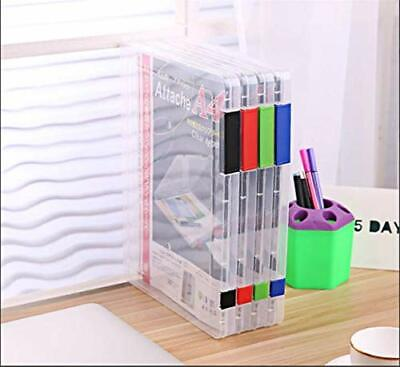 A4 File Storage Box Clear Plastic Document Cases Desk Paper Organizers Holders B • 7£