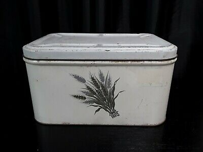 $26.99 • Buy Vintage Tin Bread Box Farmhouse Wheat Design HInged Lid