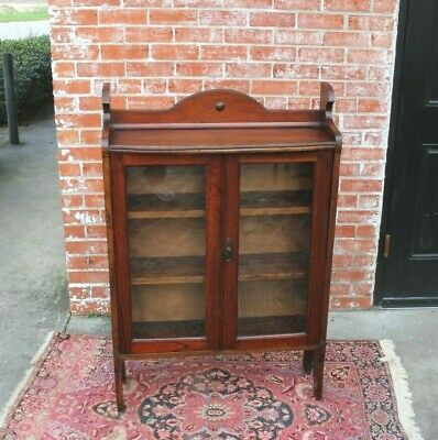 $975 • Buy English Oak Arts & Crafts Glass Door Bookcase / Display Cabinet