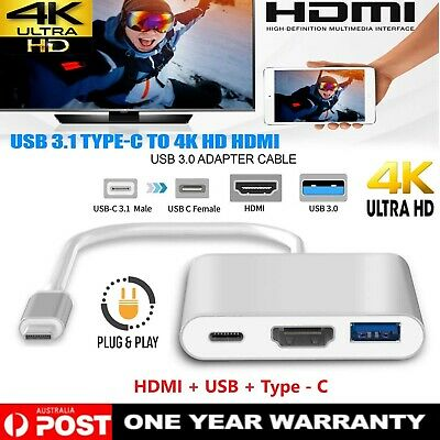 AU16.99 • Buy USB 3.1 Type-C To HDMI 4K HD USB 3.0 HUB USB-C Charging Port Adapter Cable 3IN1