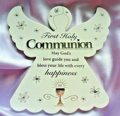 First 1st Holy Communion Gift Wooden Angel Mirrored Wall & Free Standing 8  X 8  • 8.99£
