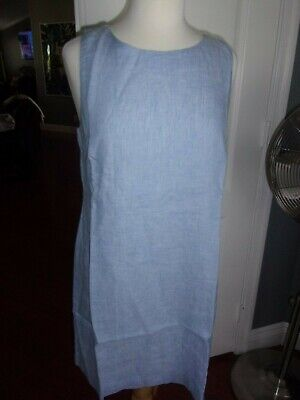 $29.99 • Buy Nwt Island Company Msrp $195 Button Shift Linen Lined Dress Andros Bl Size L