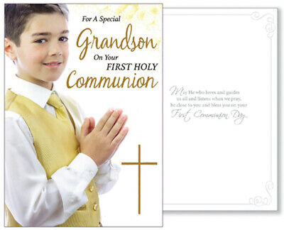 £2.50 • Buy Grandson First Holy Communion Card Boy's 1st  Holy Religious Gift New
