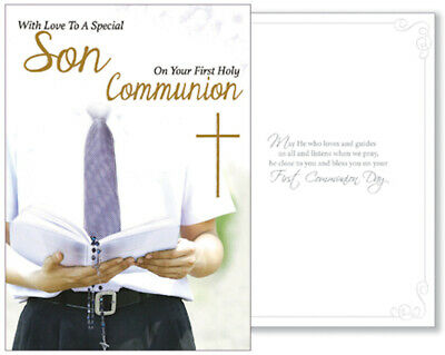 Special Son First Holy Communion Card Boy's 1st  Holy Religious Gift New • 2.25£