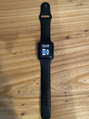 $ CDN26.95 • Buy 1st Gen Apple Watch 42mm Space Blk Polished Stainless Steel Case Blk Sport Band