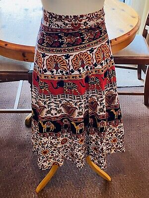 Handmade Authentic Indian Boho Hippy Ethnic Elephant Wrap Maxi Skirt Size 10 • 10£