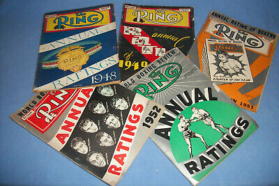 $12.50 • Buy VINTAGE THE RING BOXING MAGAZINE ANNUAL RATINGS, Lot Of Five, 1940's & 1950's