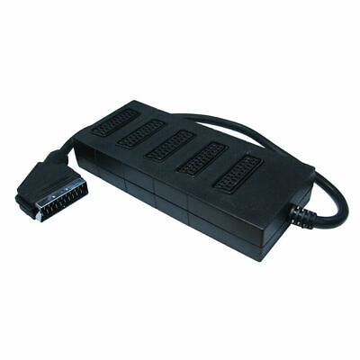 5 Way Scart Lead Cable Splitter Adaptor Adapter Extension Box • 12.50£