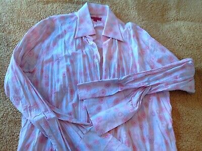 Alexandre Mens French Cuff Pink Spiral Floral Shirt 17  • 15£