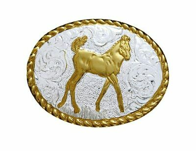 $49.95 • Buy Crumrine Western Belt Buckle Kids Youth Stand Colt Silver Gold C01033