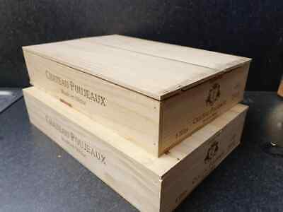 £19.95 • Buy Wine Box With Lid - Flat Half Size Genuine French Wooden Wine Crate Storage