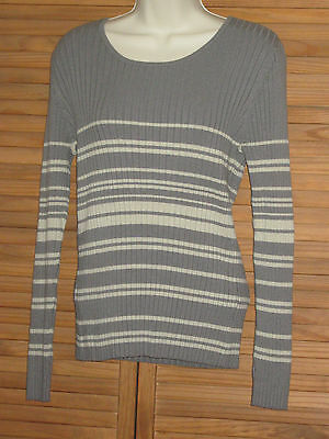 $3.99 • Buy Merona Green Striped Long Sleeve Sweater Pull Over Size L #CL207