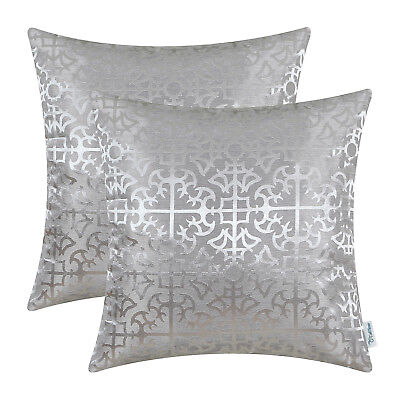 $ CDN20.67 • Buy 2Pcs Silver Gray Cushion Covers Pillows Cross Flowers Trellis Geometric 45x45cm