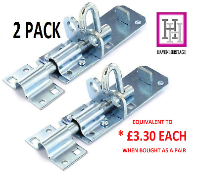 2 X 100mm 4  Brenton Strong Sliding Padlock Shed Gate Door Bolt Zinc Plated  D1 • 7.60£