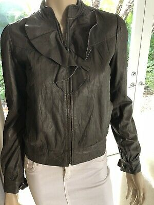Mike And Chris Soft Lamb Leather Ruffle Jacket Top Taupe Gray Sz XS • 35.69£