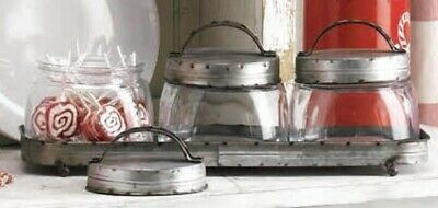 Farmhouse Vintage Style Glass Canister Set Galvanized Metal Lids, Tray Candy Jar • 57.67£