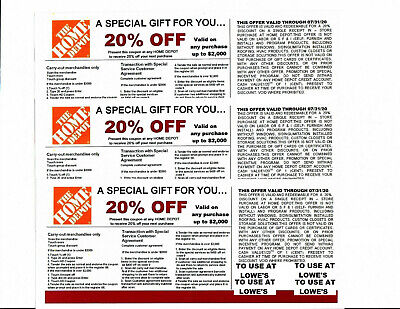 $15 • Buy 3 20% OFF HOME DEPOT Competitors Coupon At Lowe's Expires 07/31/20
