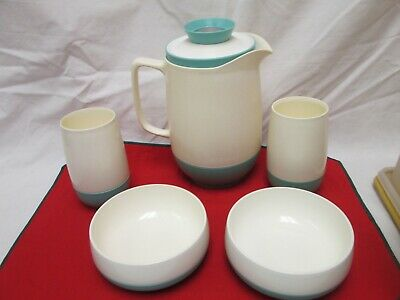 $19.95 • Buy Vintage Vacron Bopp-decker Vacuum Bowls & Tumblers, Pitcher Torquoise Made U.s.a