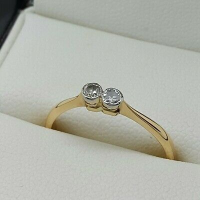 Antique Diamond 2 Stone In 18ct Gold. Ring Size M • 150£