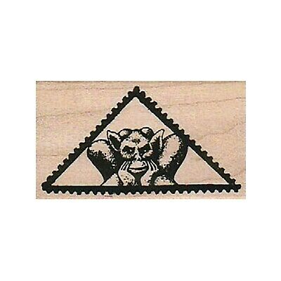 $9 • Buy Mounted Rubber Stamp, Gargoyle Triangle Postage Stamp, Post Card, Mixed Media