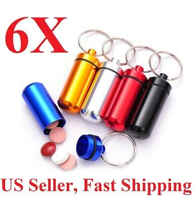 $6.99 • Buy 6 Pack Aluminum Pill Case Waterproof  Keychain Holder With Inner Container