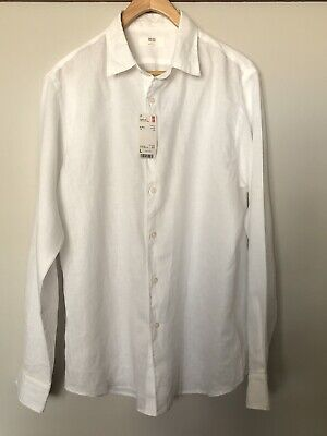 AU25 • Buy UNIQLO White Casual Button-Up Shirt - 100% Premium Linen - Mens Size L BNWT