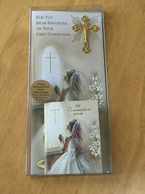 1st Holy Communion Daughter Card Gold Crucifix And Communion Book Religious Gift • 4.50£