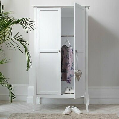 Camille Wardrobe In White Shabby Chic French Style Armoire • 289.99£
