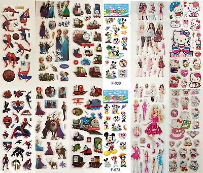 Childrens Party Bag Stickers Sheets Kids 3D Frozen Paw Patrol  SpiderMan Peppa  • 2.59£