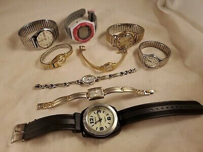 $ CDN1.30 • Buy Watch Lot Of 9 Vintage To Now Mens Womens Seiko Timex Casio Pulsar