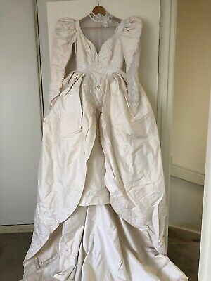 AU189 • Buy Vintage Wedding Gown Dress Couture Pure Thai Silk Beaded L Train Bodice Sleeves
