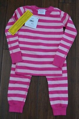$19.99 • Buy Girls Hanna Andersson Pink Striped Long John Pajamas Sz 90 3T NEW Organic Cotton