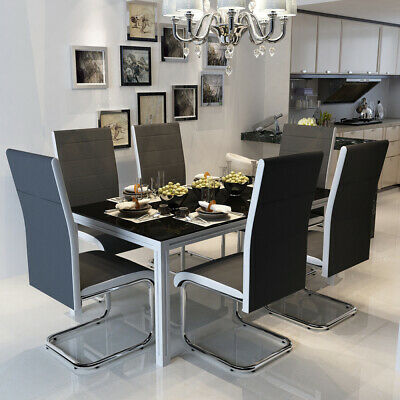 6 Faux Leather Dining Chairs High Back Chrome Legs Chair Home Kitchen Furniture • 125.99£