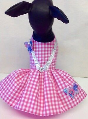 Dog Dresses Pet Clothes, Pink And White Check Butterfly  Dress  • 20£