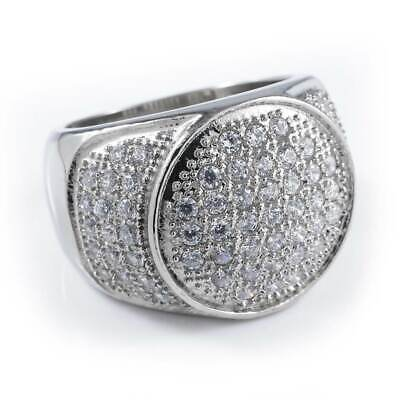 $29.99 • Buy 18K IP White Gold Out Iced Lab Diamond Band Stainless Steel Micropave Mens Ring