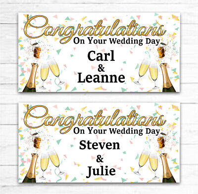 2 PERSONALISED WEDDING BANNERS WEDDING CELEBRATION PARTY ANY NAMES 84cm X 30cm • 3.99£